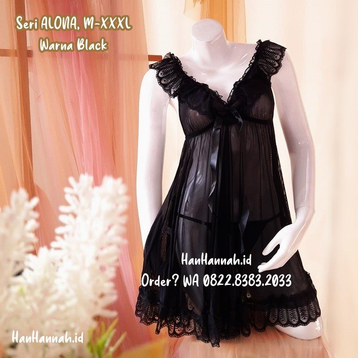 Premium M-XXXL, ALONA Black Sleepwear Set