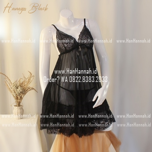 Premium M-XXXL HANAYA Black Sleepwear Set