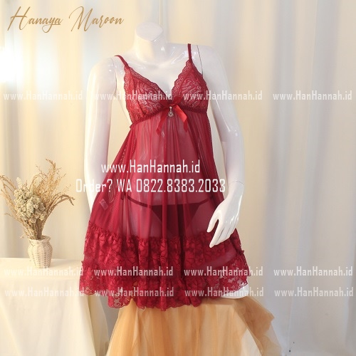 Premium M-XXXL HANAYA Maroon Sleepwear Set
