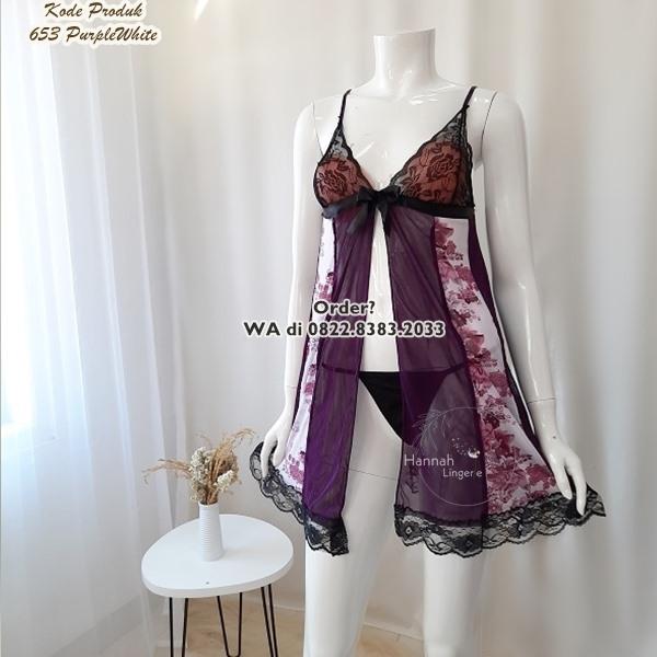[BISA COD] Sexy Lingerie Kode: 653 PurpleWhite